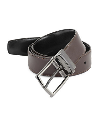 Perry Ellis Tiled Leather Belt-BROWN-40