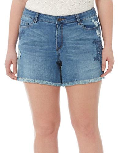 Harper + Liv Plus Plus Distressed Denim Shorts-DENIM-24W plus size,  plus size fashion plus size appare