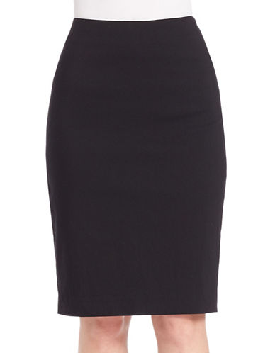 Lord & Taylor Plus Timeless Pencil Skirt-BLACK-18W