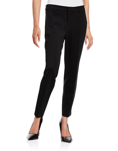 Lord & Taylor Ponte Ankle Pants-BLACK-X-Small