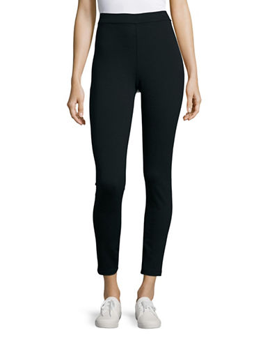 Lord & Taylor Ponte Leggings-BLACK-Medium