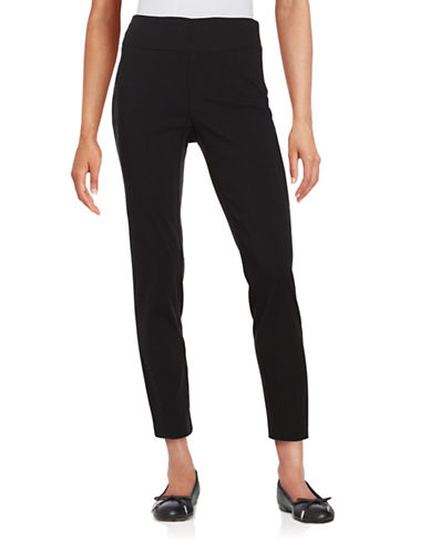 Lord & Taylor Plus Taylor Slim Ankle Pants-BLACK-18W