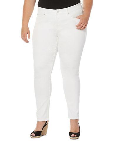 Rafaella Plus  Cotton Blend Skinny Jeans-WHITE-16W