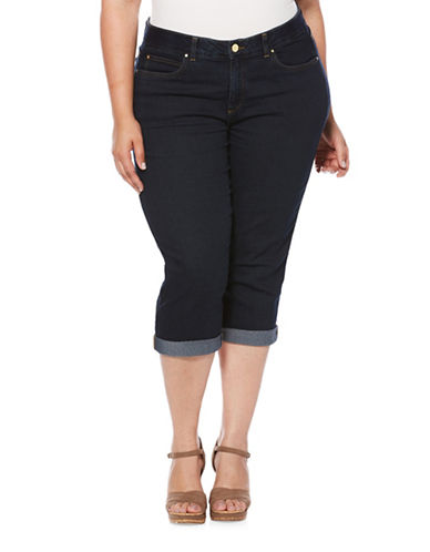 Rafaella Plus Roll-Up Capri Pants-BLUE-20W