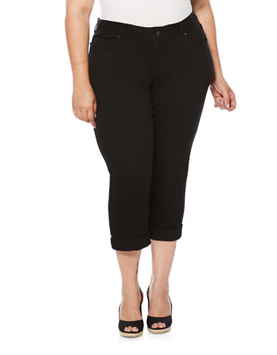 Rafaella Plus Roll-Up Capri Pants-BLACK-16W
