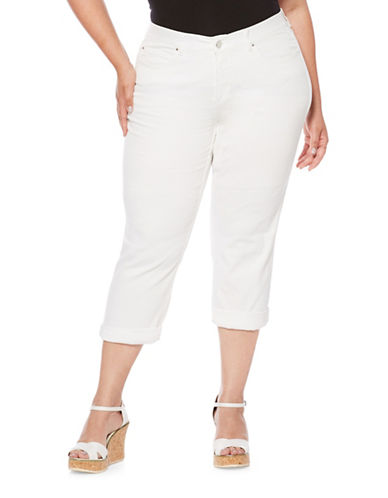 Rafaella Plus Cuffed Capri Pants-WHITE-16W