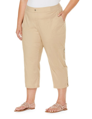 Rafaella Plus Pull-On Capri Pants-SAFARI-18W