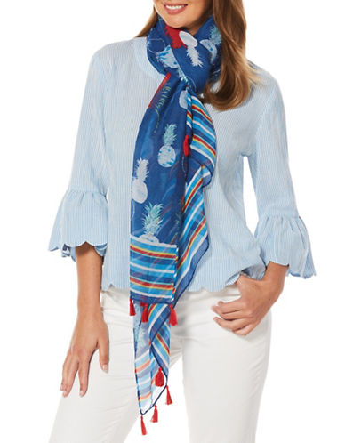Rafaella Plus Pineapple-Printed Scarf-BLUE MULTI-One Size