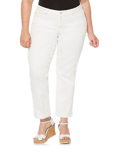 Rafaella Plus Rip and Repair Girlfriend Jeans-WHITE-16W