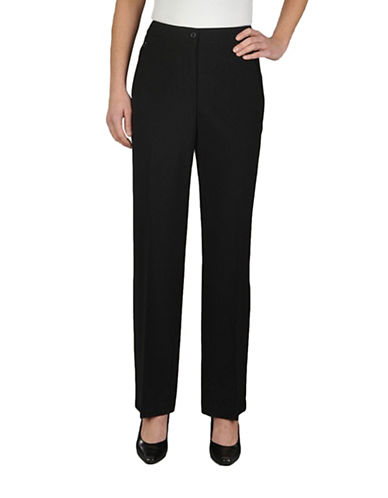 Allison Daley Comfort Waist Straight Leg Zip Pocket Pant-BLACK-12