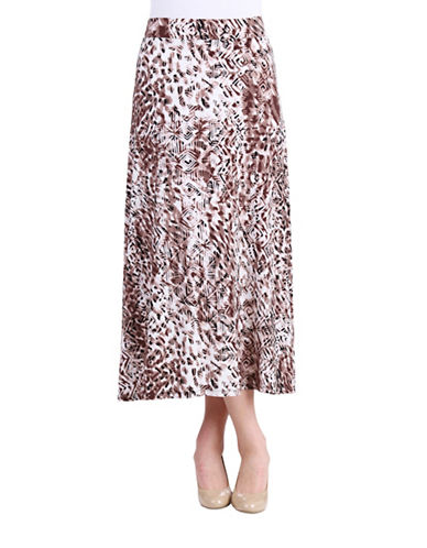 Allison Daley Printed Pull-On Skirt-BEIGE-12 plus size,  plus size fashion plus size appare