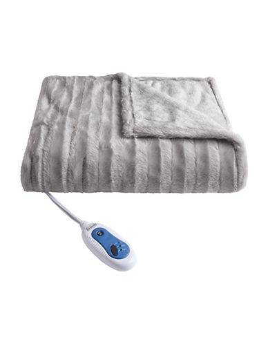 Beautyrest Black Electric Fur Throw Blanket-GREY-One Size