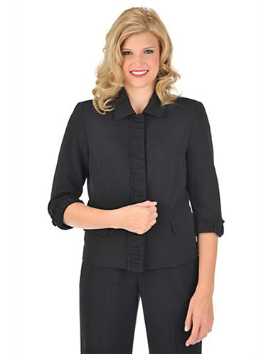 Allison daley Petite Snap Front Ruched Knit Jacket black 10 Petite