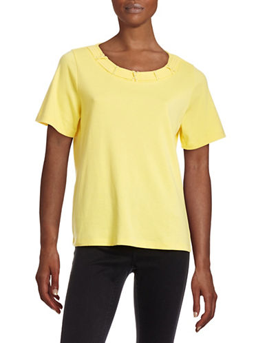 Allison Daley Petite Banded Hot Fix T-Shirt-YELLOW-Petite Small