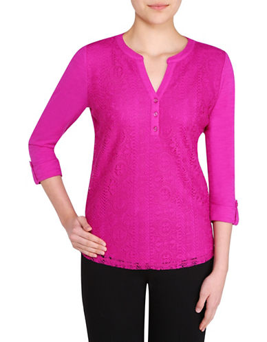 Allison Daley Split Neck Lace Top-PINK-Small 88578162_PINK_Small
