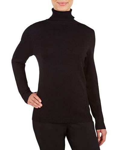 Allison Daley Solid Long Sleeve Pullover-BLACK-Large 88791118_BLACK_Large