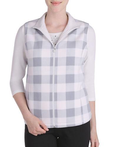 Allison Daley Zip Front Plaid Jacket-WHITE-X-Large 88811272_WHITE_X-Large