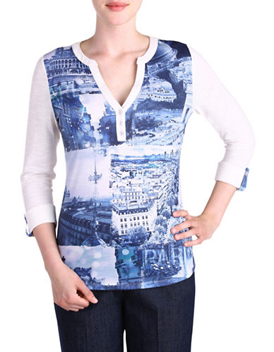 Allison Daley Printed Roll Tab Sleeve Top-BLUE-X-Large 88728054_BLUE_X-Large