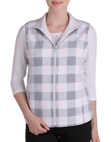 Allison Daley Plus Sleeveless Check Vest-GREY/NATURAL-2X