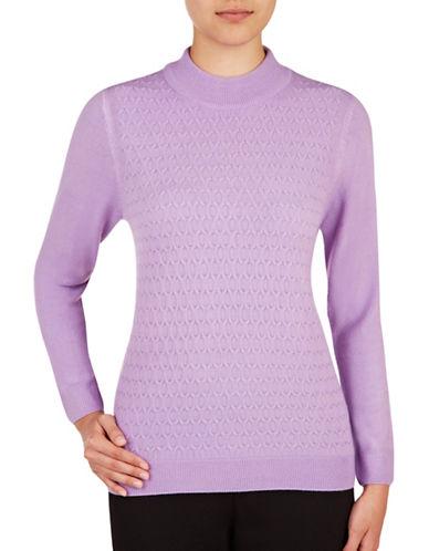 Allison Daley Plus Honeycomb Knit Sweater-PURPLE-3X 88848430_PURPLE_3X