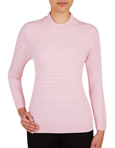 Allison Daley Plus Honeycomb Knit Sweater-PINK-2X 88848432_PINK_2X