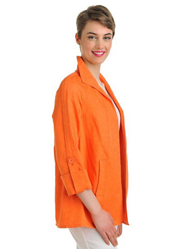 Nygard Plus Size 3/4 Roll Up Tab Sleeve Open Front Jacket orange 16 W