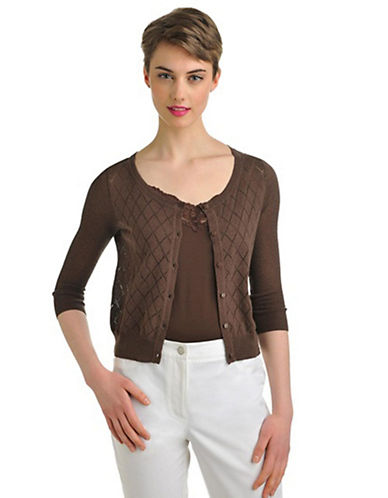 Nygard Plus Size 3/4 Sleeve Diamond Point Cardigan brown 2X