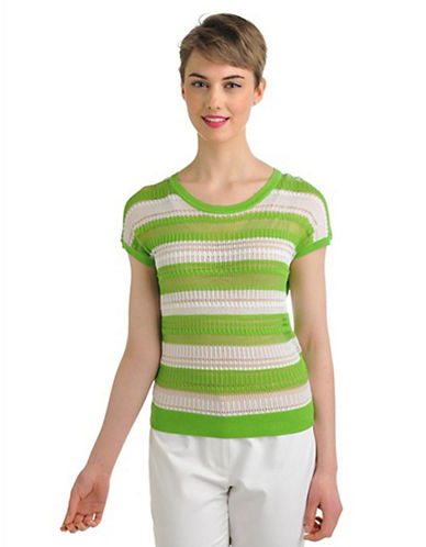 Nygard Plus Size Short Sleeve Point Stripe Pullover kiwi green/white 2X