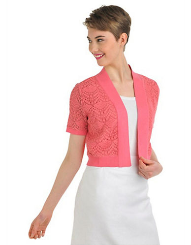 Nygard Plus Size Short Sleeve Lace Front Shrug pink 2X