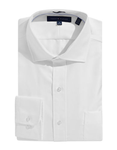 Tommy Hilfiger Egyptian Cotton Regular Fit Dress Shirt-WHITE-17.5-32/33