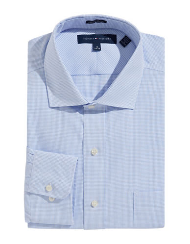 Tommy Hilfiger Regular Fit Non Iron Dress Shirt-BLUE-17.5-34/35