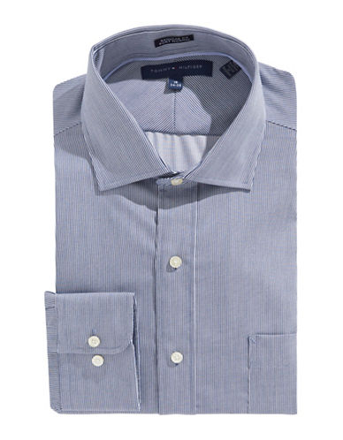 Tommy Hilfiger Egyptian Cotton Regular Fit Dress Shirt-BLUE-16-32/33