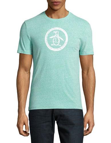 Original Penguin Triblend Distressed Logo T-Shirt-MEDIUM BLUE-Large