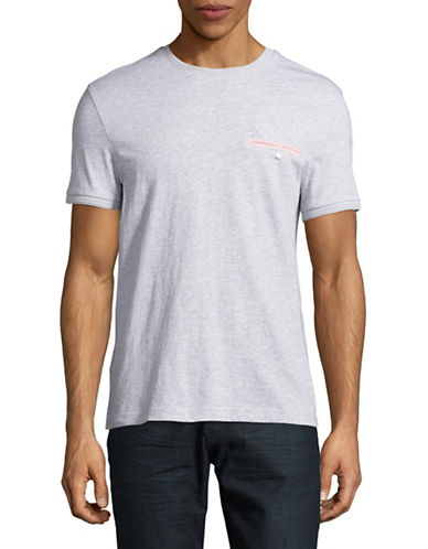 Original Penguin Gingham Welt Pocket T-Shirt-GREY-X-Large