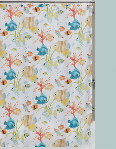 Creative Bath Rainbow Fish Shower Curtain-WHITE-One Size