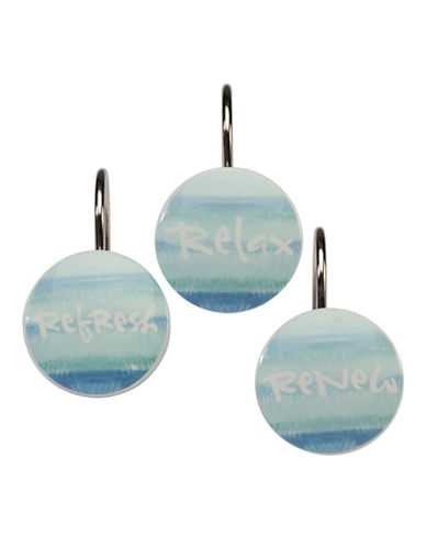 Creative Bath 12-Pack Resin Shower Curtain Hooks-BLUE-One Size