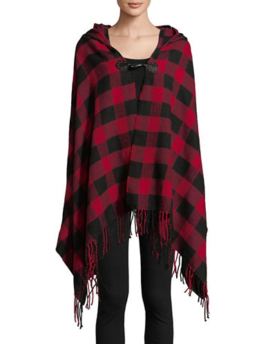 Woolrich Buffalo Check Plaid Hooded Wrap-RED-One Size