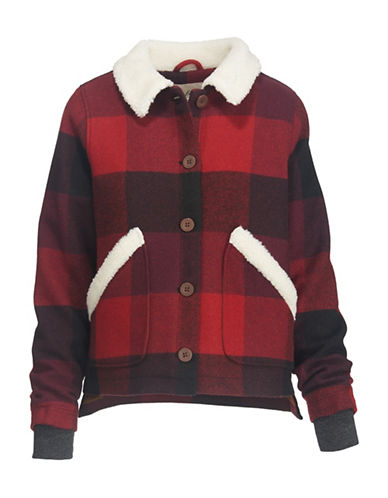 Woolrich Faux Fur-Trimmed Wool-Blend Jacket-RED-Medium