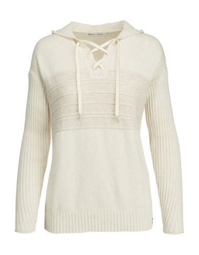 Woolrich Ribbed Lace-Up Hoodie-IVORY-Small