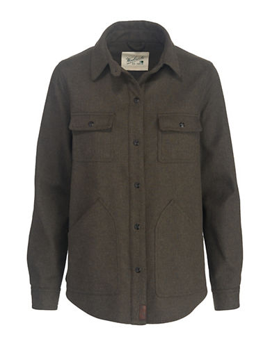Woolrich Long Sleeve Shirt Jacket-BLACK-X-Small