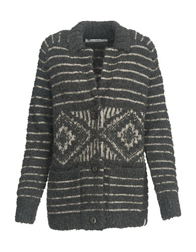 Woolrich Striped Sweater Coat-GREY-Small
