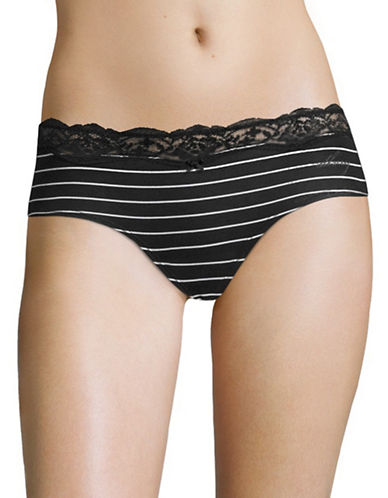 Dkny Downtown Hipster Panties-BLACK/WHITE-Small