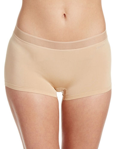 Dkny Signature Seamless Boy Shorts-NUDE-Large