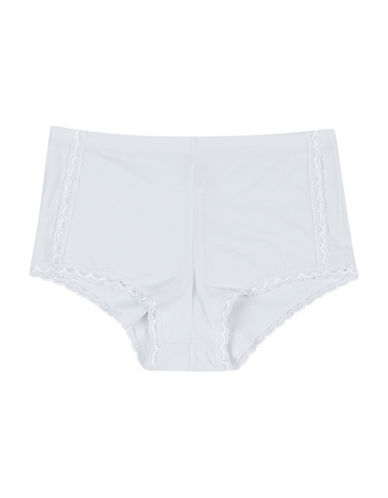 Maidenform Lace Trim Boyshorts-WHITE-5