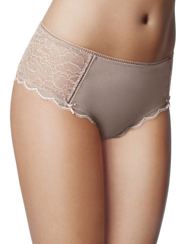 Wonderbra Hanging Meant to be Seen Tailored Cheeky Lace Briefs-TAUPE-X-Large