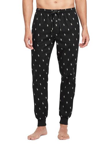 Polo Ralph Lauren Logo Flannel Jogger Pants-BLACK-Large 89731642_BLACK_Large