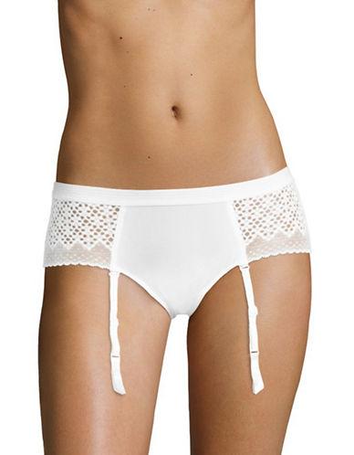 Dkny Nightfall Lace Garter Panties-POPLIN WHITE-Small