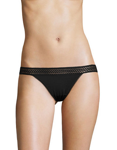 Dkny Classic Lace Trim Bikini Briefs-BLACK-Medium