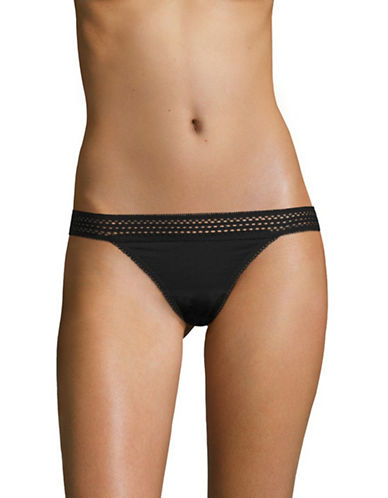 Dkny Classic Lace Trim Thong-BLACK-Large