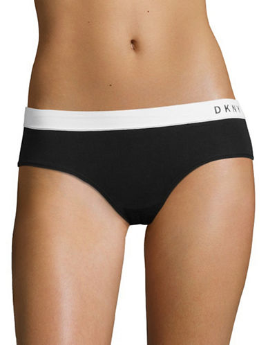 Dkny Classic Boy Shorts-BLACK/WHITE-Medium